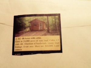 10 acres with cabin. Close to state land. Land contract terms.